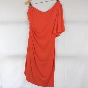 Calvin Klein Orange Dress one shoulder Lined Sz 14